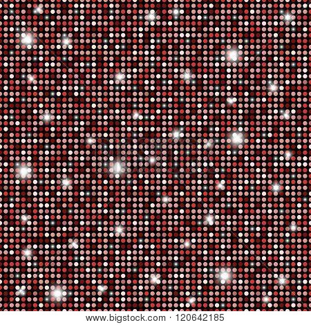 Glamour Red, Black And White Shining Rounds Seamless Texture Background. Disco, Luxury, Information