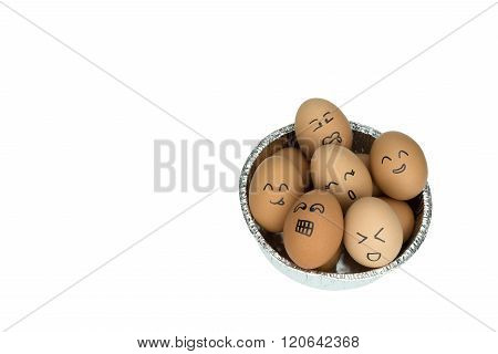 Eggs With Smiling Happy Faces On Round Aluminium Foil Tray, Isolated On White Background