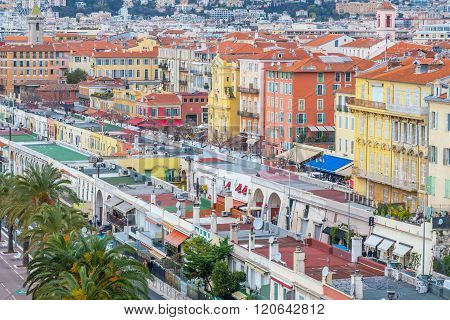 Nice, France - March 3, 2016: View of old center of Nice. Cote d'Azur French Riviera. ** Note: Soft Focus at 100%, best at smaller sizes