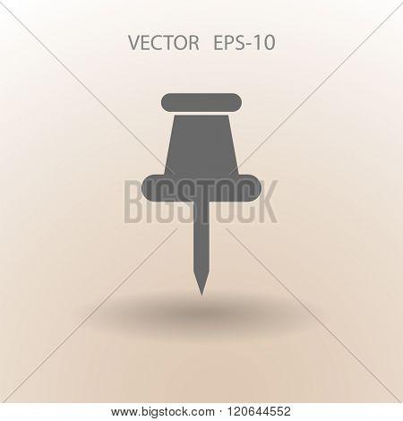 Flat long shadow Pushpin icon, vector illustration