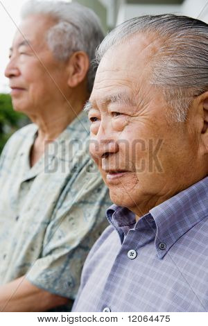 Profile of two elderly men