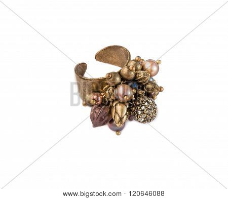 Ring With Pearls, Zirconium And Beads On White.