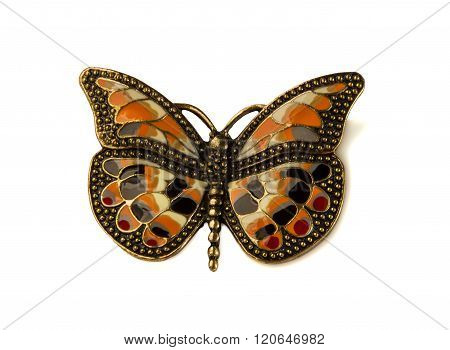 Coloured Enamel Brooch Butterfly On White.