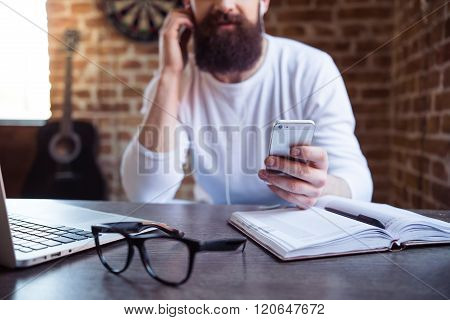 Bearded Businessman Working