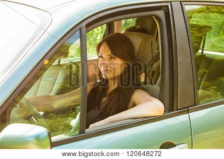 Woman Driving Car. Summer Vacation Trip Travel.