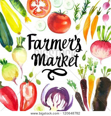 Illustration with watercolor food. Farmer's market.