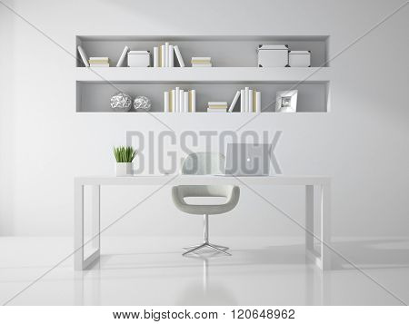Interior of clean white office room 3D rendering