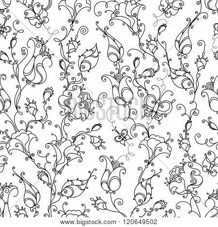 Seamless Linear Floral Pattern.