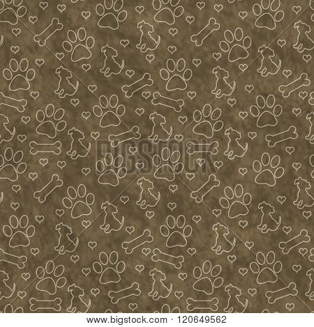 Brown Doggy Tile Pattern Repeat Background