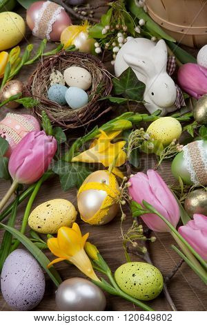 Assorted Eggs And Flowers For Easter