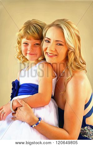 Painting Of Lovely Mom And Daughter Studio Pose