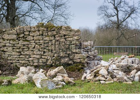 Dry Stone Wall Being Repaired