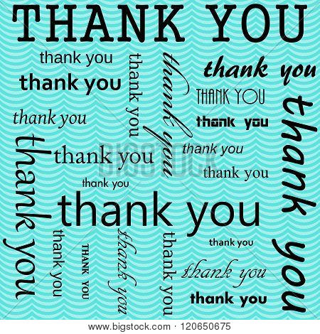 Thank You Design With Teal Wavy Stripes Tile Pattern Repeat Background