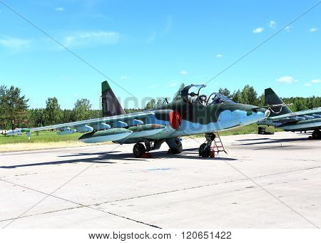 MOSCOW REGION  -   JUNE 13 2015 :Attack aircraft of the russian air force on the parking place at the air base   on June 13, 2015 in Moscow region