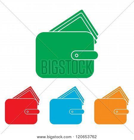 Wallet sign. Colorfull set