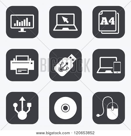 Computer devices icons. Printer, laptop signs.