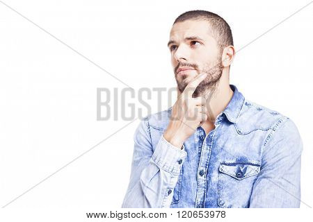 Portrait of a young thoughtful man, isolated over white background