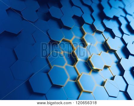 hexagonal abstract background - 3d render