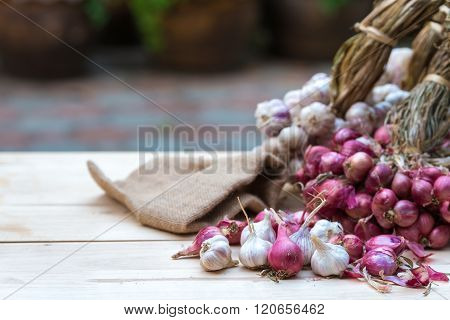 Shallots and garlic ,herb for healthy, Food background