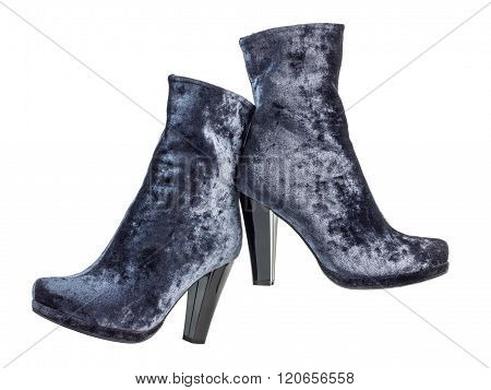 Pair of gray suede women's boots on heels