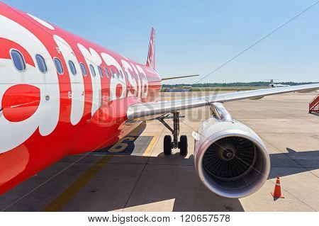 PATTAYA, THAILAND - FEBRUARY 26, 2016: Thai AirAsia A320 in U-Tapao International Airport. U-Tapao Rayong-Pattaya International Airport is serving Rayong and Pattaya cities in Thailand.