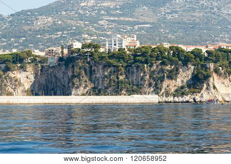 houses and apartment buildings on the Mediterranean coast of the French Riviera. Horizontal with copy space for text