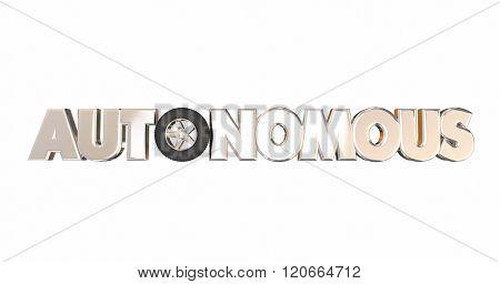 Autonomous Vehicle Self Driving Car Automobile Wheel Tire 3d Word