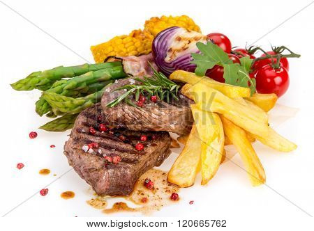 Grilled bbq steak on white background, close-up.