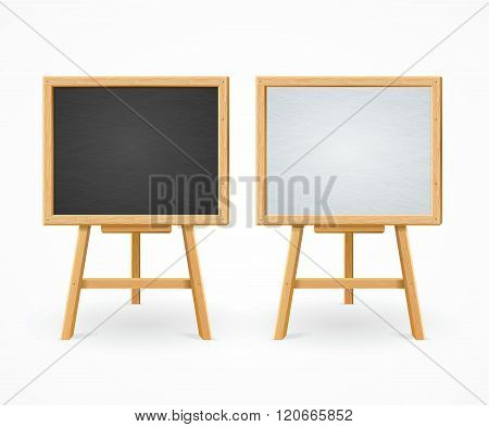 Black Board and White Set On Easel Front View. Vector