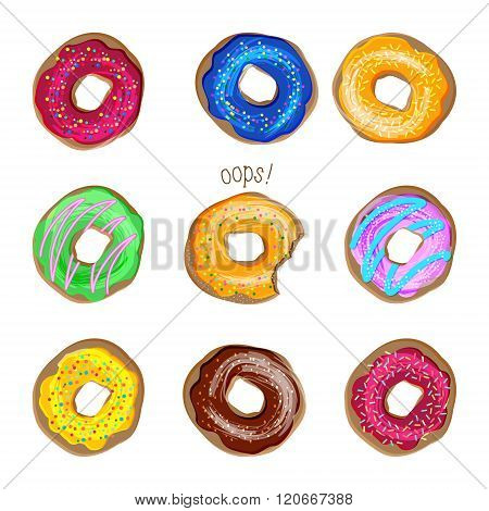 Donut vector set. Coloured donuts with different icings and sprinkles. Sweet desserts cakes doughnut cookies. Bakery set of donuts, donut collection isolated on white