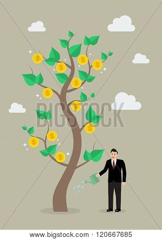Businessman Watering A Giant Money Plant