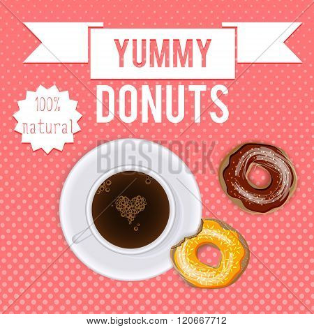 Breakfast. Donuts and coffee cartoon vector poster package design. Donuts and coffee vintage food banner background. Coffee and donuts breakfast retro banner package design with hand drawn text