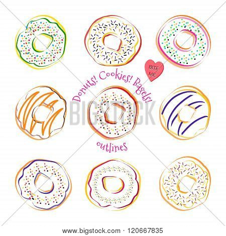 Donut outline vector set. Donuts outlines with different icings and sprinkles. Sweet desserts cakes doughnut cookies. Bakery set of donuts. Line drawing donut collection isolated on white