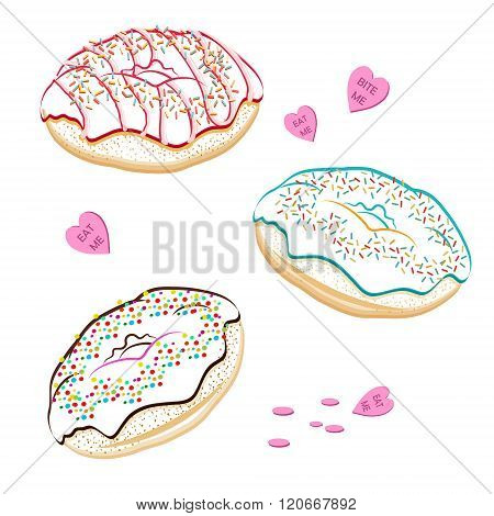 Assorted vector donuts line drawing contour. Collection of tasty hand drawn donuts with different icings. Yummy vector doughnuts banner with various glazing and icing. Hand drawn line donuts isolated on white