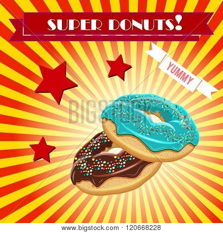 Donut vector illustration vintage coffee shop banner background. Donut breakfast retro advertising banner poster design. Art Deco stylised food poster