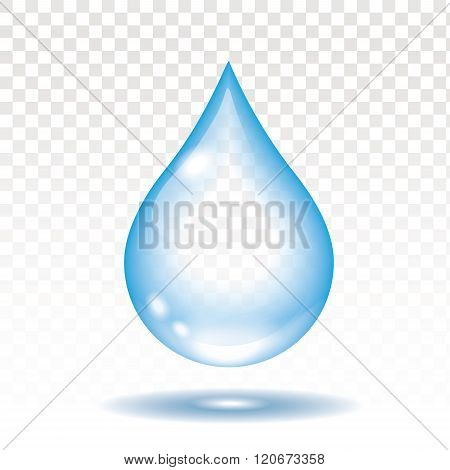 Realistic water drop isolated vector illustration,  transparency
