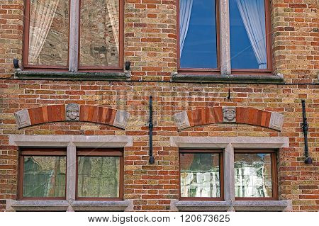 Architectural Facade Detail At One Old Building Placed In Bruges, Belgium 5
