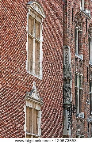 Architectural Facade Detail At One Old Building Placed In Bruges, Belgium 8