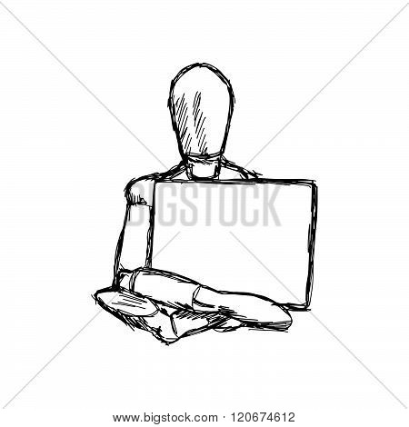 illustration vector doodle hand drawn of sketch mannequin old wooden dummy holding empty board