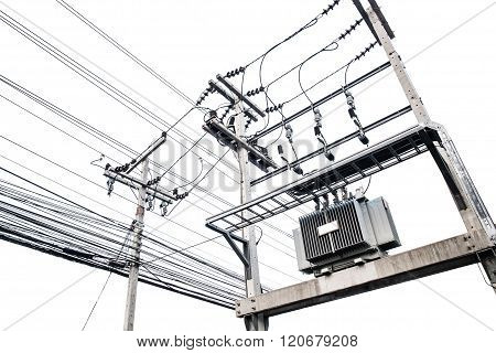 Electric transformers on electric pole, isolated on white background