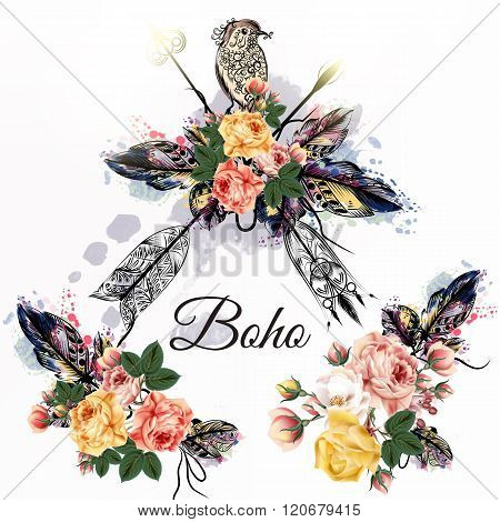 Boho Tribal Design With Arrows Roses And Birds In Watercolor Hand Drawn Style