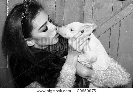 Woman With Pig