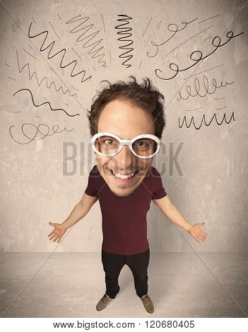 Funny guy with big head and drawn curly lines over it