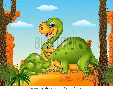Happy mother with baby dinosaur in prehistoric background