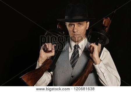 Handsome gangster man