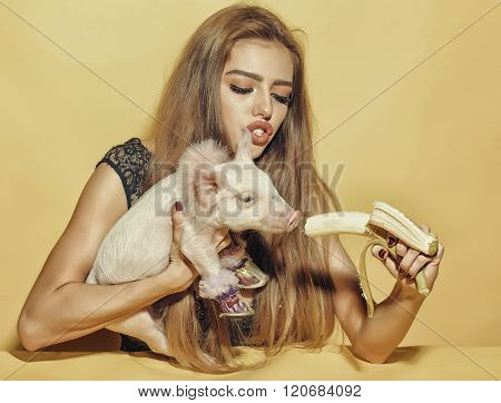 Woman With Pig And Banana