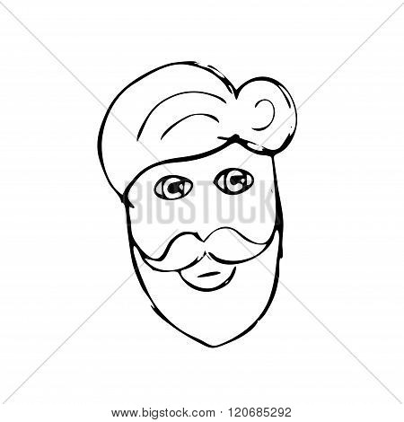 Vector hand drawn mustache beard and hair style. Doodle illsutration