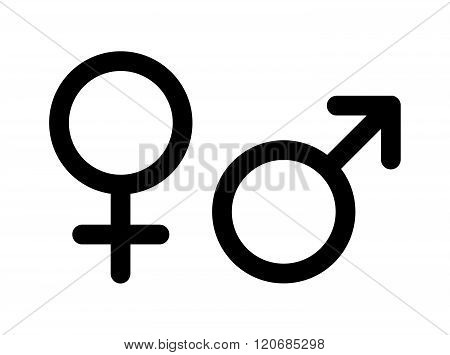 Men and women pictograms. Mars and Venus icons on white