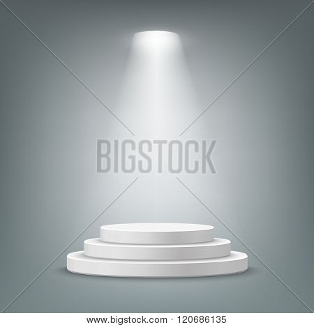 Illuminated round stage podium.