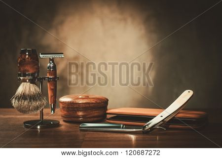 Gentleman's accessories on a luxury wooden board